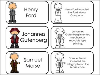 Great Inventors Picture Word Flash Cards.