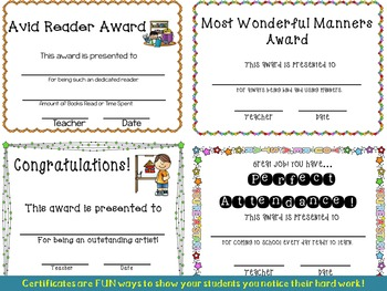 Great Job! Awards Pack for Students' Achievements
