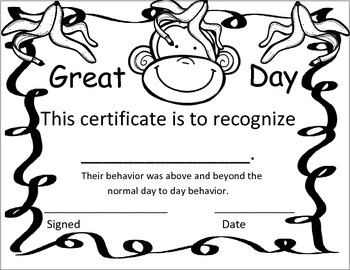 Great Day Certificate
