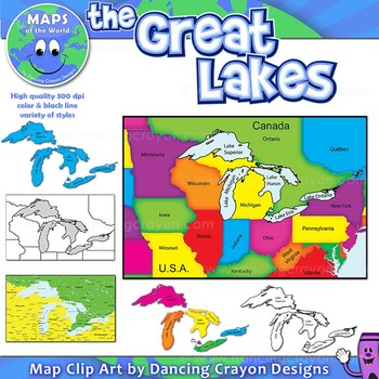 Great Lakes: Clip Art Maps of the Great Lakes