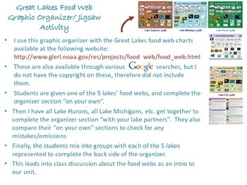 Great Lakes Food Web graphic organizer / jigsaw activity