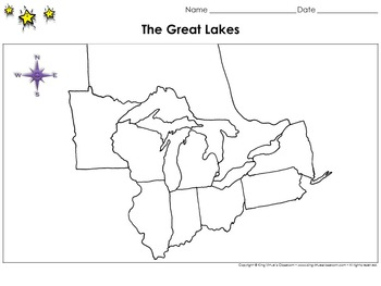 Great Lakes Map - Blank - Full Page - King Virtue's Classroom