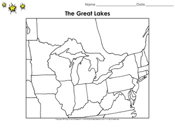 Great Lakes Map - Bordering States - Blank - Full Page - K
