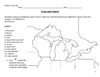 Great Lakes Region Labeling Worksheet