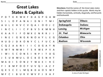 Great Lakes States and Capitals Word Search Great For Geography!