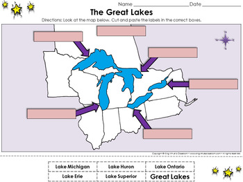 Great Lakes: The Great Lakes Cut and Paste Activity - King Virtue's Classroom
