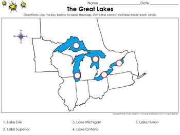 Great Lakes: The Great Lakes - Locate Places on a Map #2
