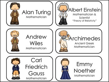 Great Mathematician and Scientists Picture Word Flash Cards.