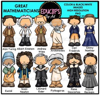 Great Mathematicians Clip Art Bundle {Educlips Clipart}