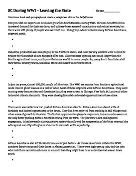 Great Migration - Paraphrase Worksheet