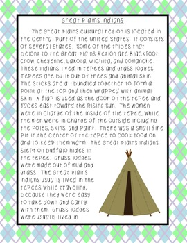 Great Plains Indians Reading Comprehension and Extended Response