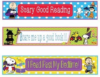Great Pumpkin Charlie Brown Halloween Bookmarks Name Plates EDITABLE