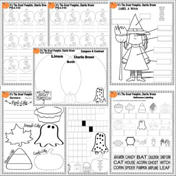Great Pumpkin Charlie Brown Halloween Comprehension Activity Pack on Lined Paper