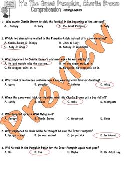 Great Pumpkin Charlie Brown Halloween Comprehension Lined Paper Multiple Choice