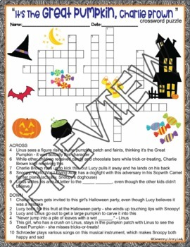Great Pumpkin Activities Charlie Brown Halloween Crossword Puzzle Word Search