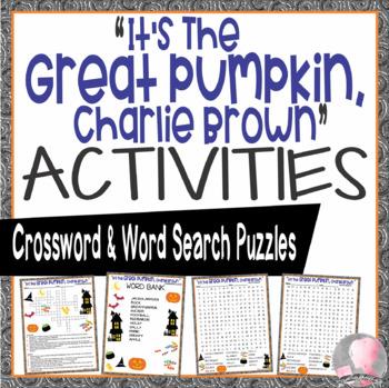 Great Pumpkin Activities Charlie Brown Halloween Crossword Puzzle Word Search