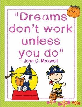 "Great Pumpkin Charlie Brown Halloween Growth Mindset Posters - 8.5""x11"", 18""x24"""