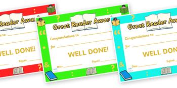 Great Reader Award Certificate