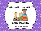 Great Readers and Writers Checklist Bookmarks