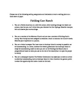 Great Salt Lake Writing Prompts and Worksheets