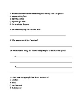 Great San Francisco earthquake 1906 - Article lesson Facts questions information