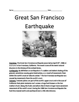 Great San Francisco earthquake 1906 - Article lesson Facts