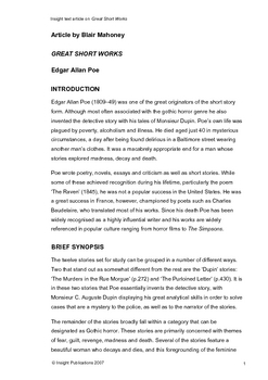 Great Short Works of Poe Insight Text Article