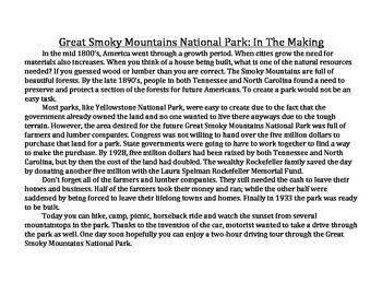 Great Smoky Mountains National Park CLOSE READS & Writing