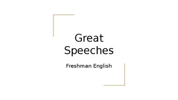 Great Speeches/Introduction to Public Speaking PowerPoint