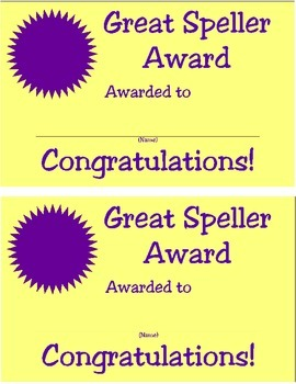 Great Speller Certificate, Assorted Colors