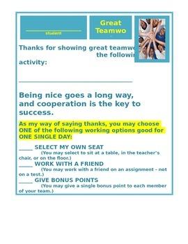 Great Teamwork Bonus - Option Rewards