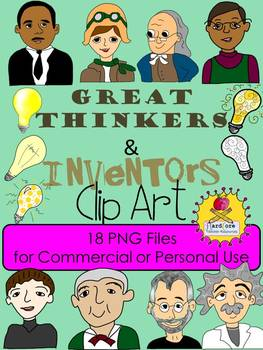Great Thinkers and Inventors Clip Art + Lightbulbs {Person