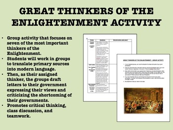 Great Thinkers of the Enlightenment activity - Global/World History