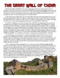 Great Wall of China Common Core Reading Worksheet