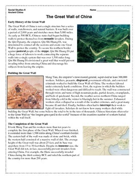 Great Wall of China Reading