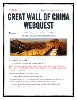 Great Wall of China - Webquest with Key