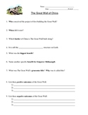 Great Wall of China - Worksheet