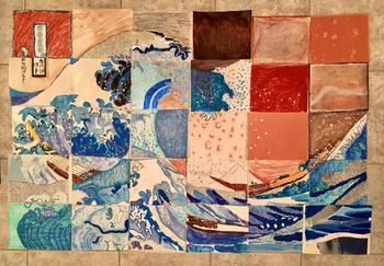 Great Wave off Kanagawa Collaborative Mixed Media Art Piece