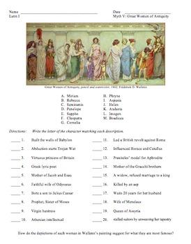 Ecce Romani: Myth V Worksheet: Great Women of Antiquity