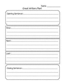 Great Writers Plan! Writing Process Planning Sheet