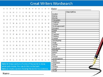 Great Writers Wordsearch Sheet Starter Activity Keywords English Literature
