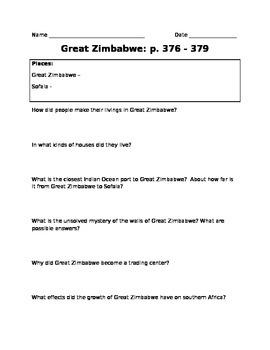 Great Zimbabwe Study Sheet
