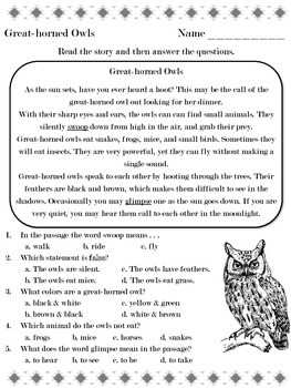Great-horned Owls - Reading Passage - Practice Worksheet
