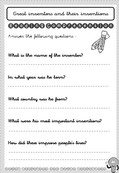 Great inventors and their inventions - History Unit - Grades 2 to 6 - Printable