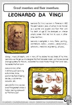 Great inventors and their inventions - History Unit - Grades 2 - 6 - Not Cursive