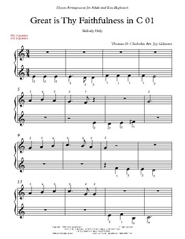 Great is Thy Faithfulness Hymn Arr. for Adults (Free Version) Single User