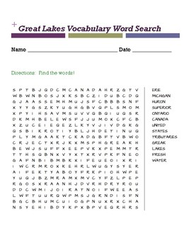 Great lakes vocabulary word search