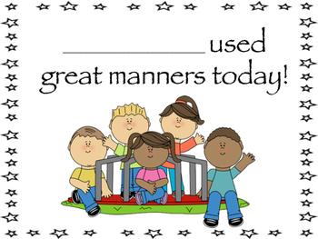 Great manners certificate