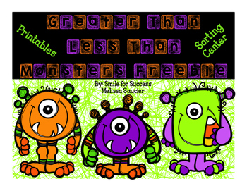 Greater Than & Less Than Monsters {Freebie!}
