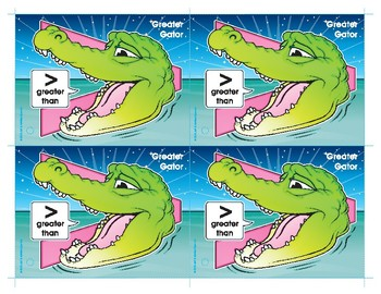 Greater Gator (Greater Than) Number Buddy Card